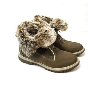 Timberland Fur Fold Down Boots Sz 8.5